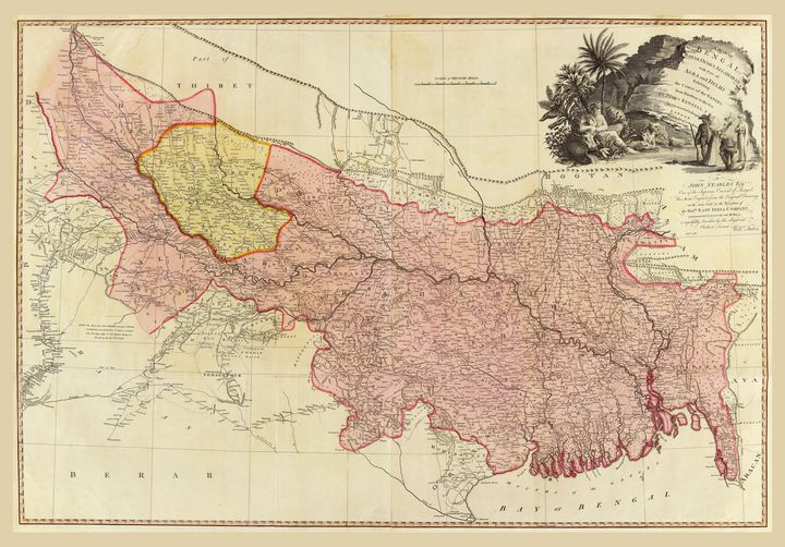 Map of Bengal Bahar Oude India 1786 - Yvonne