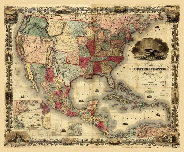 United States of America Map (1850) - Yvonne