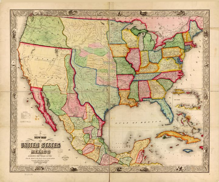 United States and Mexico Map (1847) - Yvonne