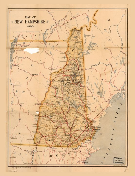 Map of New Hampshire (1890) - Yvonne