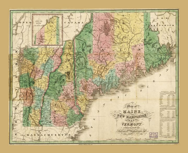 Maine New Hampshire Vermont Map 1826 - Yvonne