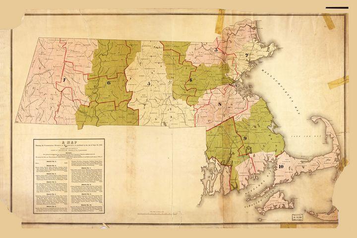 Map of Massachusetts (1842) - Yvonne