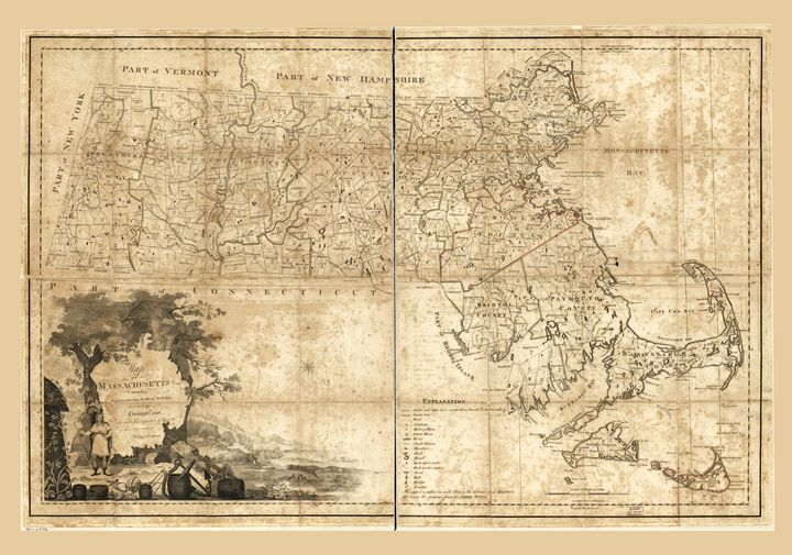 Map of Massachusetts (1801) - Yvonne
