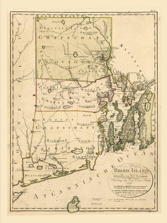 Map of Rhode Island by C Bohn 1797 - Yvonne