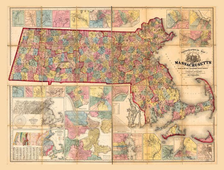 Massachusetts Map (1861) - Yvonne
