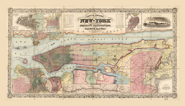 City & County Map of New York (1857) - Yvonne