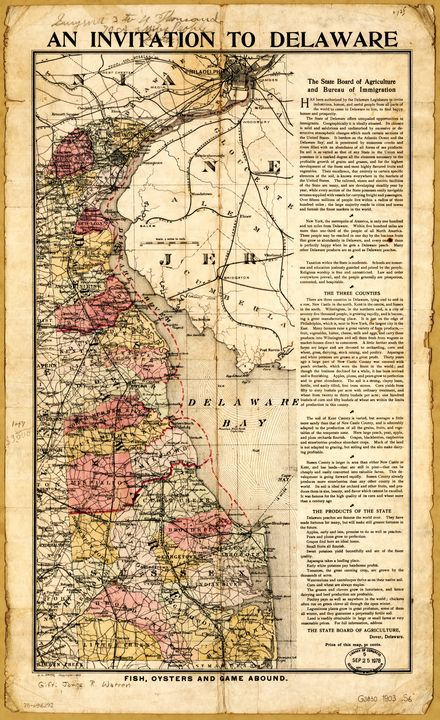 """""""An Invitation to Delaware"""" Map 1903 - Yvonne"""