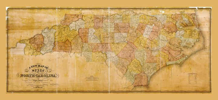State of North Carolina Map (1833) - Yvonne