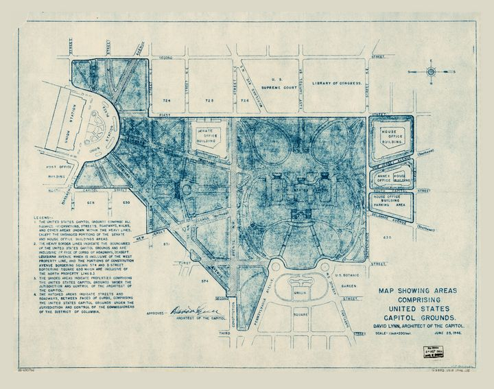 U.S. Capitol Grounds Map (1946) - Yvonne - Drawings ...