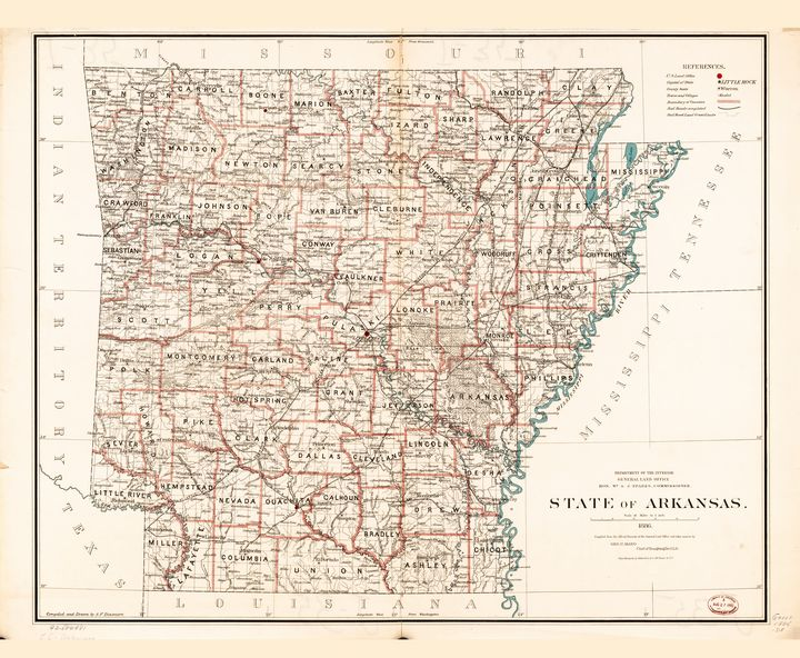 State of Arkansas Map (1886) - Yvonne