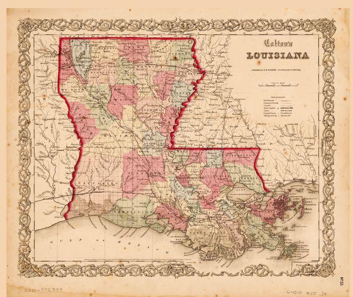 Louisiana Map by J.H. Colton (1855) - Yvonne