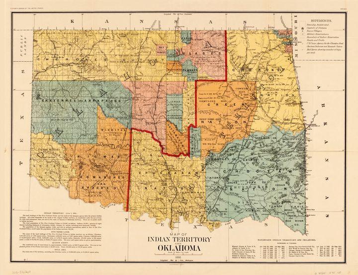 Indian Territory Oklahoma Map (1890) - Yvonne