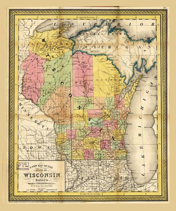State of Wisconsin Map (1852) - Yvonne