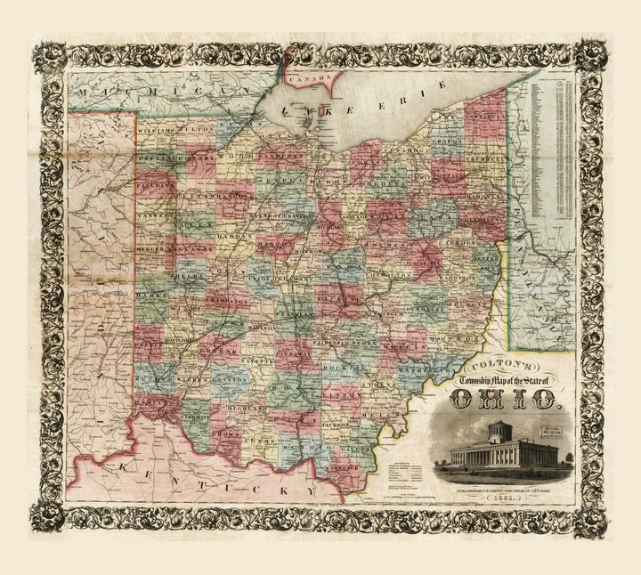 Colton's Map of Ohio (1851) - Yvonne