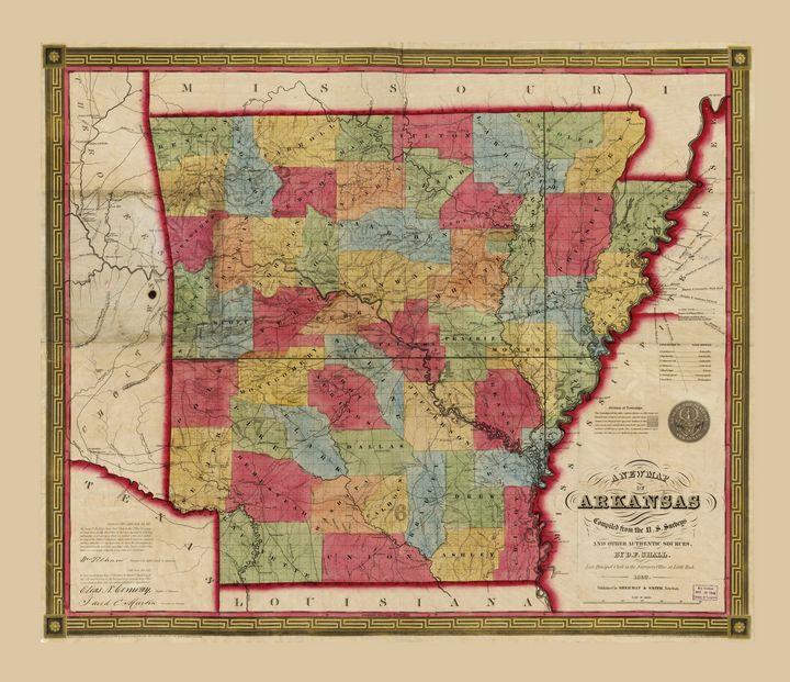 Map of Arkansas (1852) - Yvonne