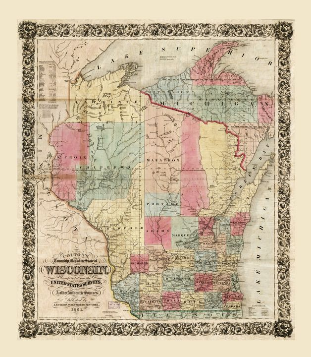 Colton's Map of Wisconsin (1851) - Yvonne