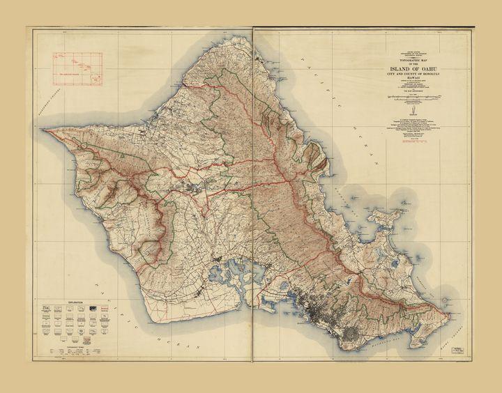 Map of Oahu, Hawaii (1938) - Yvonne