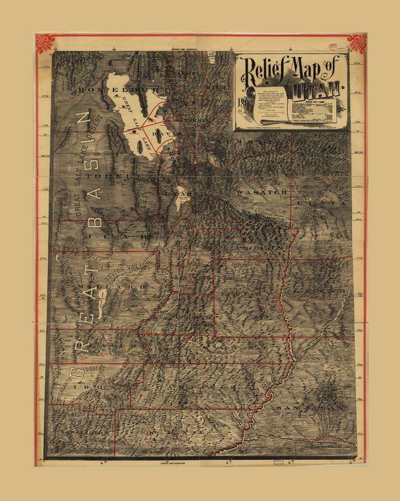 Relief Map of Utah (1895) - Yvonne