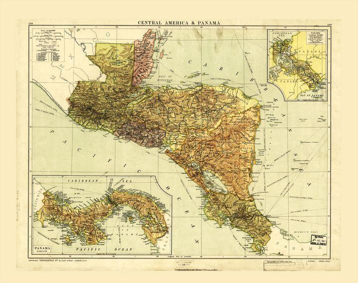 Central America & Panama Map c. 1920 - Yvonne
