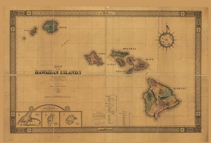 Map of the Hawaiian Islands (1876) - Yvonne
