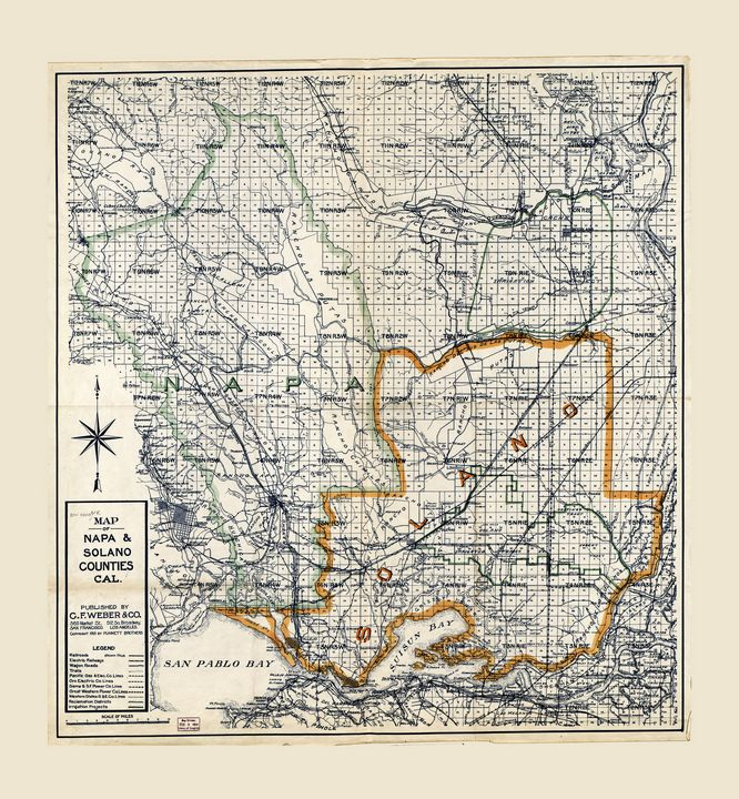 Map of Napa & Solano Counties (1913) - Yvonne