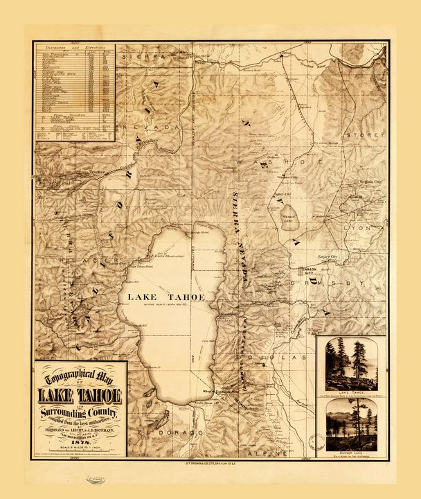 Topographical map Lake Tahoe (1874) - Yvonne