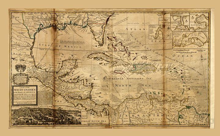 West Indies Map (circa 1715) - Yvonne