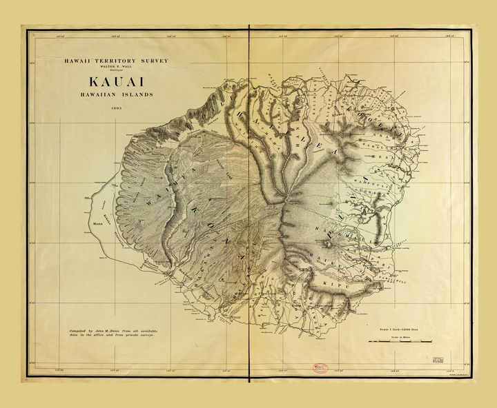 Kauai, Hawaiian Islands Map (1903) - Yvonne