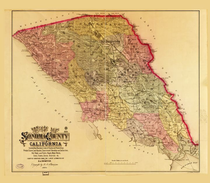 Map of Sonoma County California 1884 - Yvonne