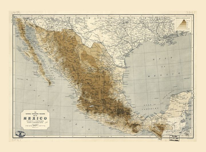 Map of Mexico (1911) - Yvonne