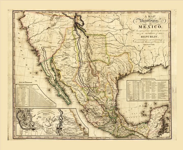 United States of Mexico Map (1826) - Yvonne