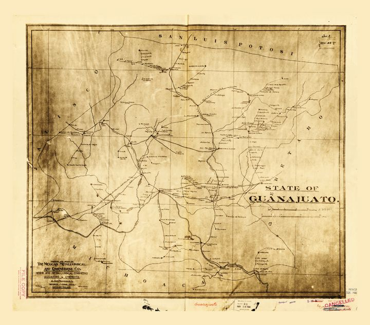 State of Guanajuato Mexico Map c1910 - Yvonne