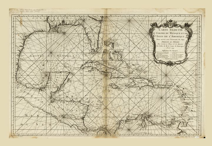 Map of the Caribbean (1749) - Yvonne