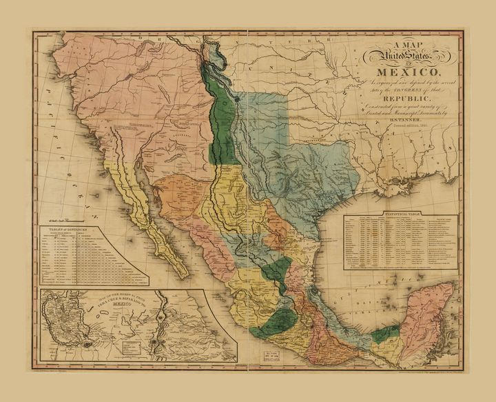 Map of Mexico by Henry Tanner (1846) - Yvonne