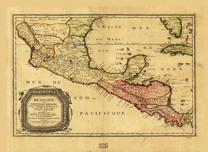 Map of Mexico & Central America 1656 - Yvonne