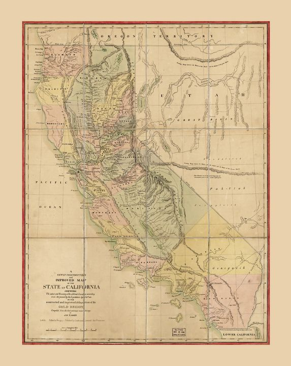 State of California Map (1851) - Yvonne