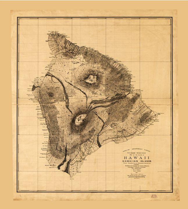 Map of Hawaii, Hawaiian islands 1886 - Yvonne