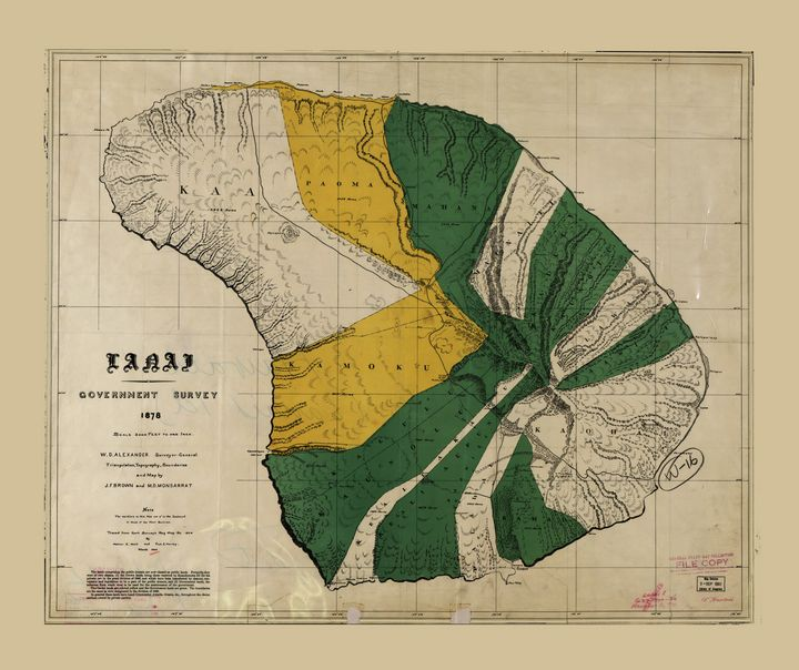 Map of Lanai, Hawaiian Island (1900) - Yvonne