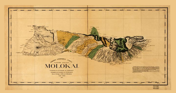 Map of Molokai, Hawaiian Island 1897 - Yvonne