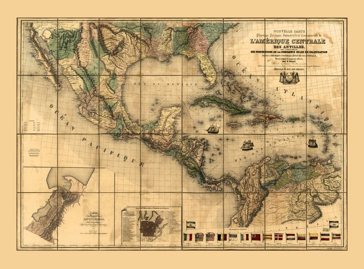 Central America Map (1845) - Yvonne