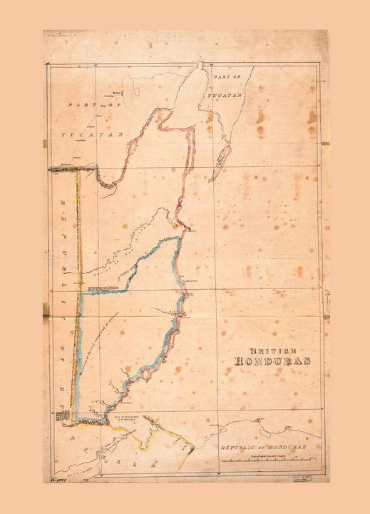 British Honduras Map (Belize) 1867 - Yvonne
