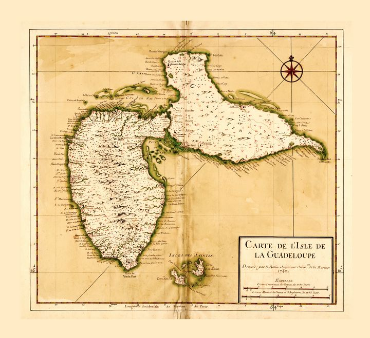 Carte de l'isle la Guadeloupe (1742) - Yvonne