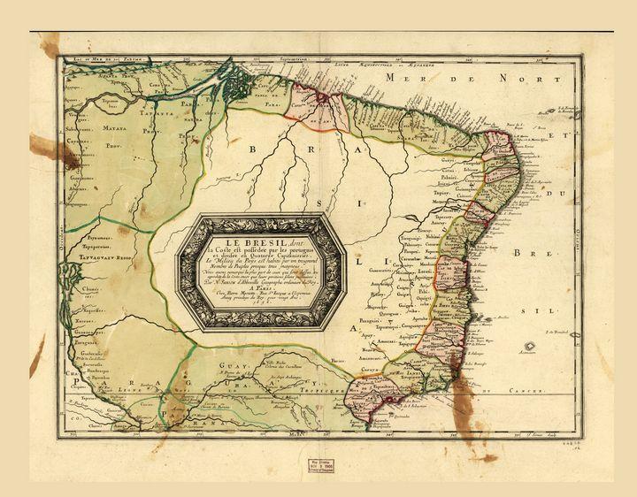 Le Bresil (Map of Brazil circa 1656) - Yvonne