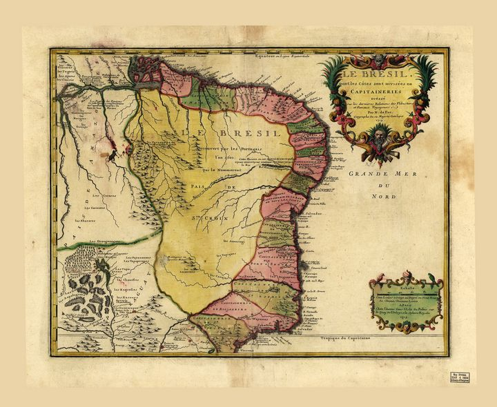 Le Bresil (Map of Brazil circa 1719) - Yvonne