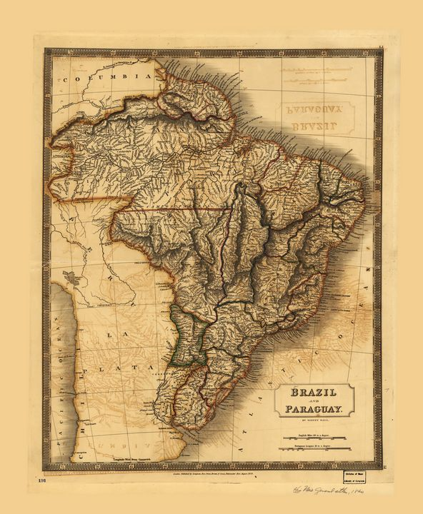 Map of Brazil and Paraguay (1828) - Yvonne