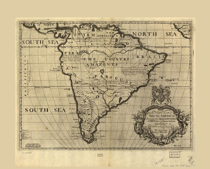 Map of South America (circa 1700) - Yvonne