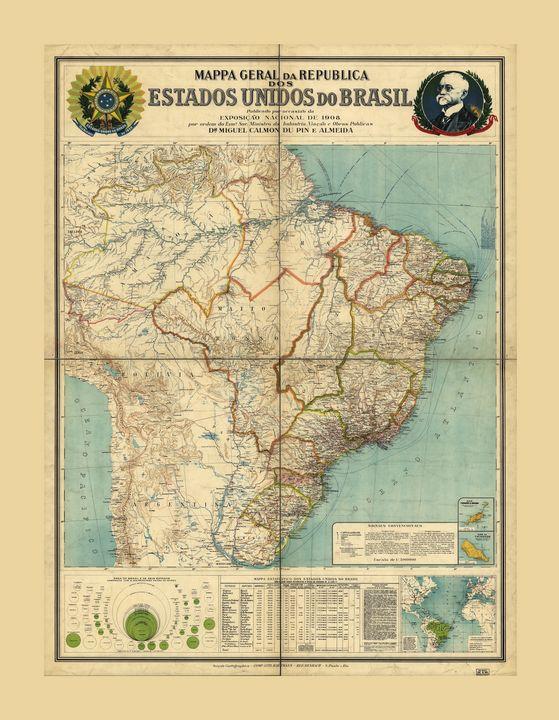 Map of Brazil (1908) - Yvonne