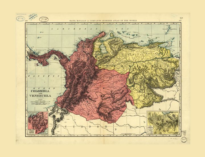 Colombia and Venezuela Map (1898) - Yvonne