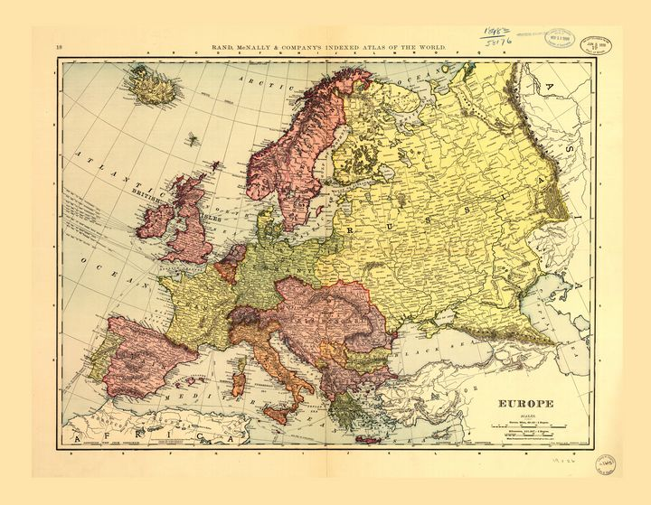 Rand McNally Map of Europe (1898) - Yvonne