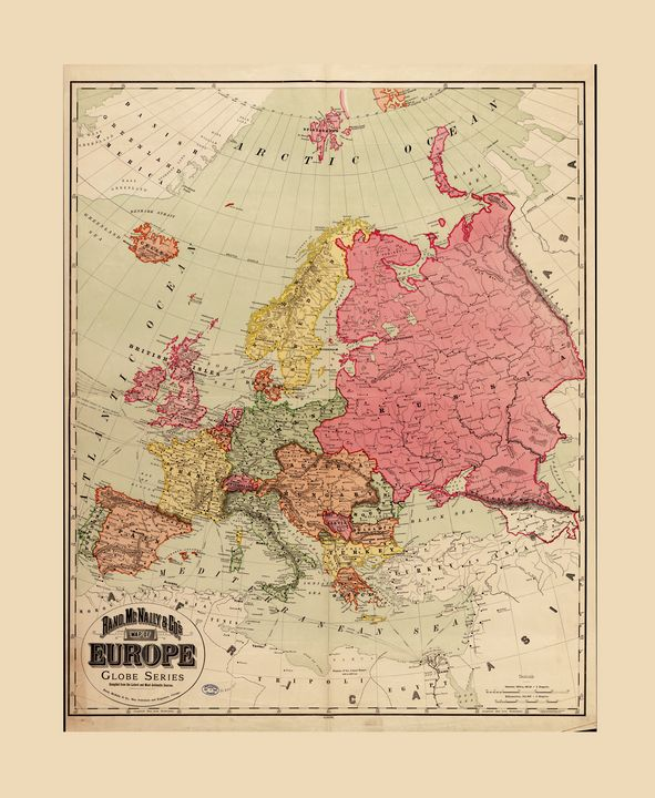 Rand McNally Map of Europe (1894) - Yvonne